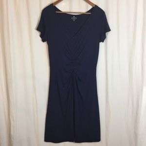 Athleta Honey Dress Navy Blue with Ruched Front